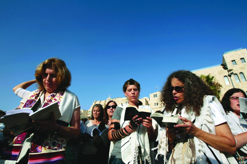Women of the book: Members of WOW pray near the Western Wall Plaza, July 8, 2013.
