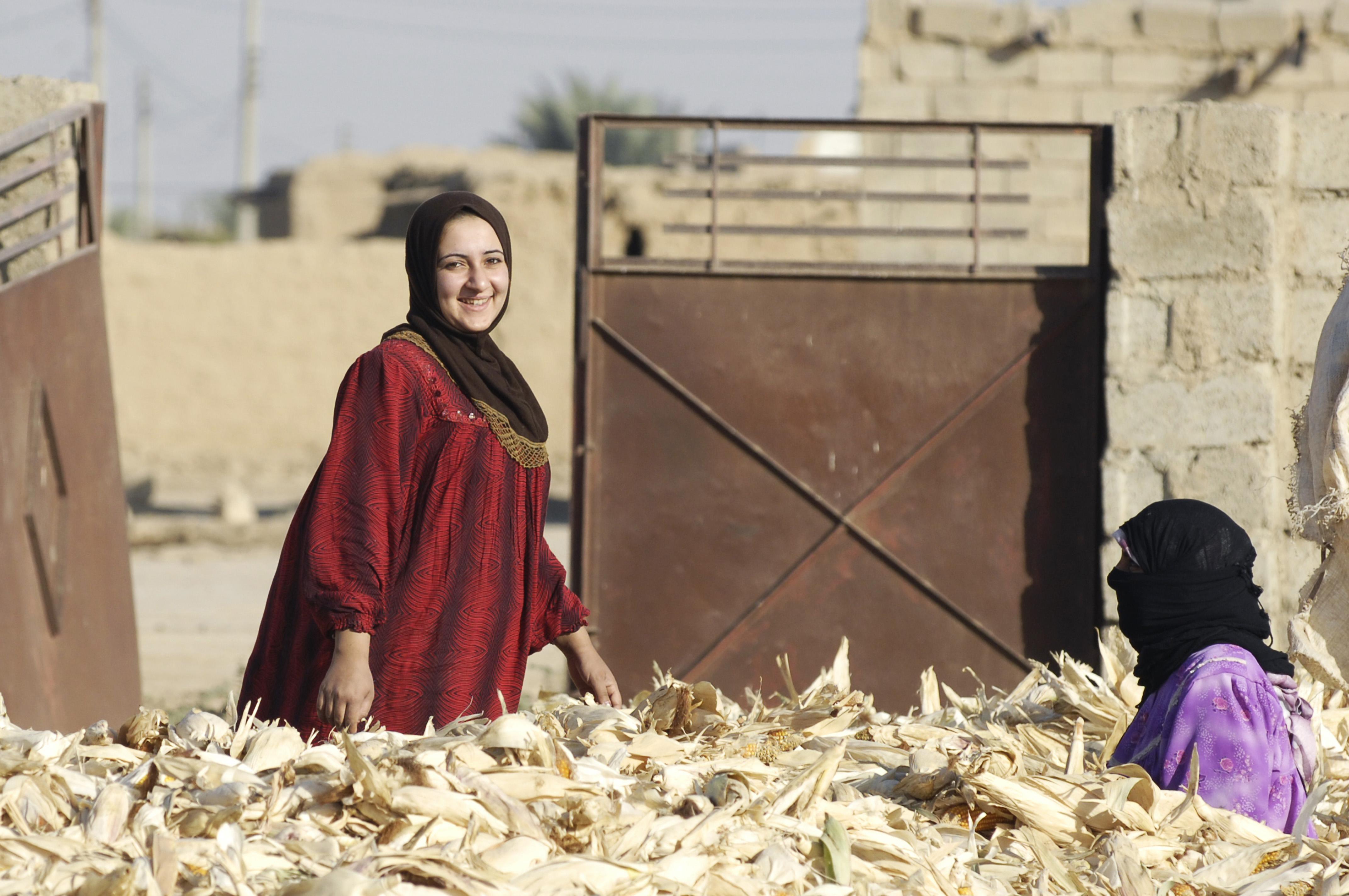 Can Iraq Avert Economic Disaster?    Iraqi_women_shuck_corn_for_bread_in_the_village_of_Al_Kahn_in_Kirkuk_Iraq