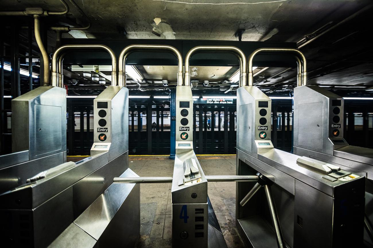 NYC MTA subway turnstile during coronavirus pandemic